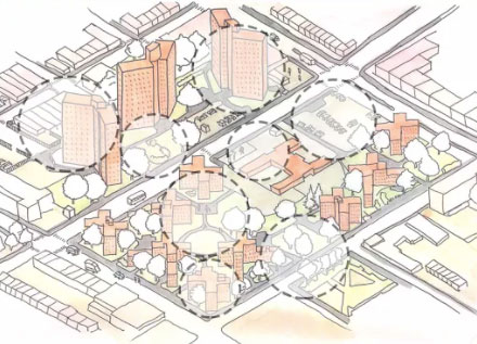 Drawing of city street with areas circled where green infrastructure could be incorporated