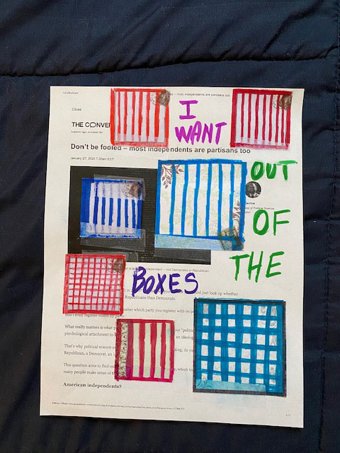 artwork of boxes drawn over a printed out news article on independent voters