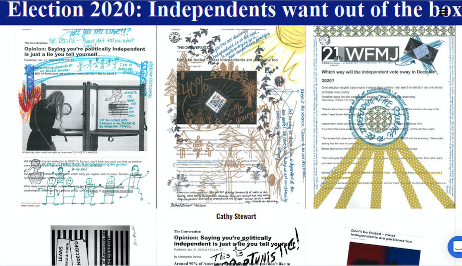 drawings over article on independent voters during the election
