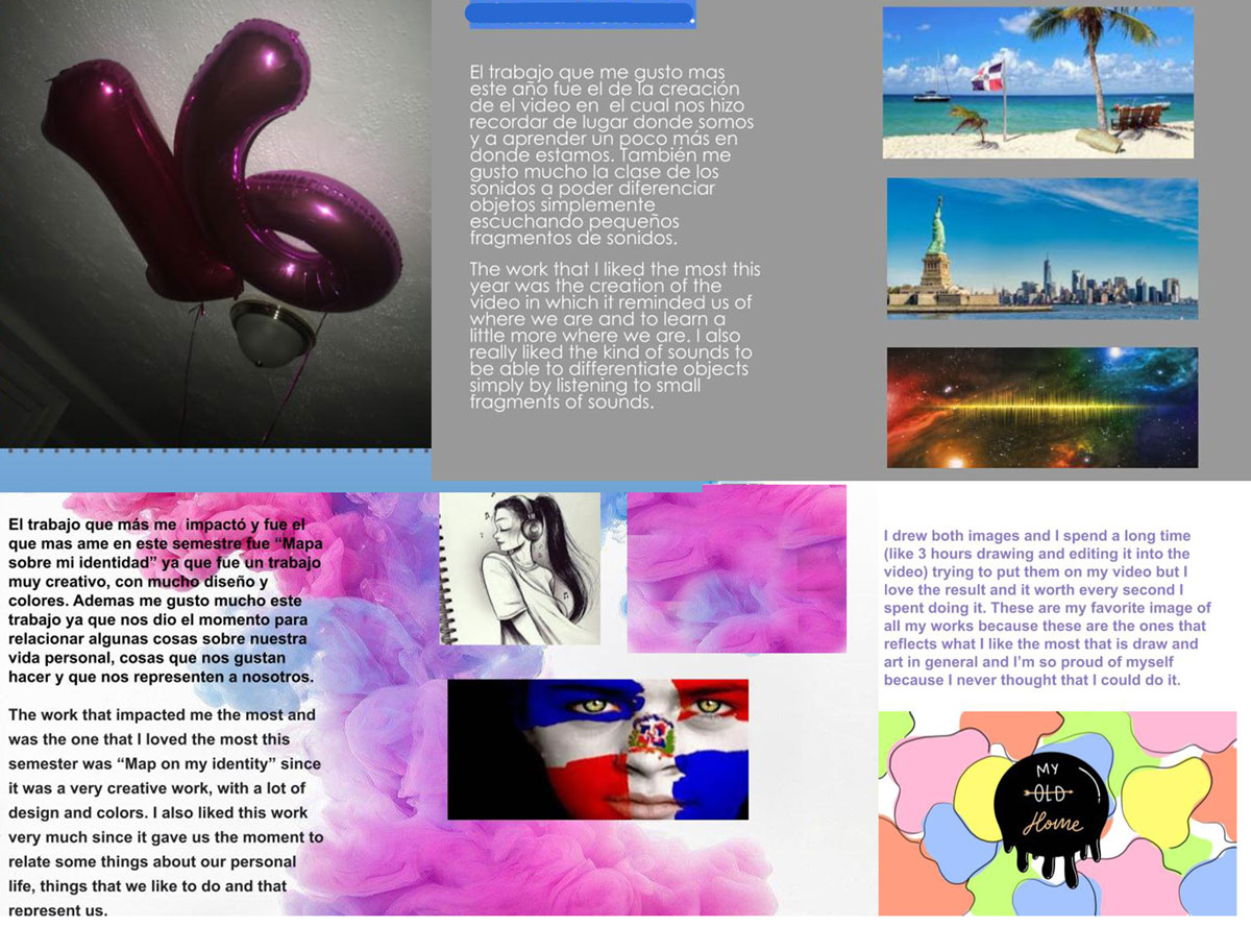 A collage of student work and descriptions of what they have learned.