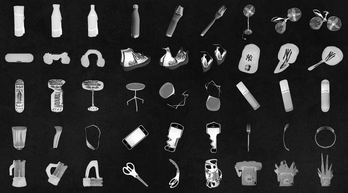 black and white image of objects in motion