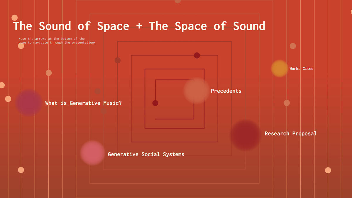 """Screenshot of presentation including clickable text from left to right: """"What is Generative Music?"""", """"Generative Social Systems,"""" """"Precedents,"""" """"Research Proposal,"""" and """"Works Cited."""""""