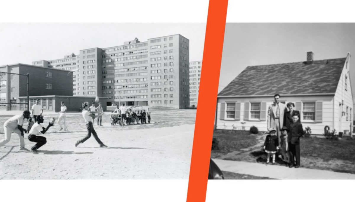 group of young adults play baseball in front of housing for African Americans next to a comparison photo of  a white family in front of a suburban home