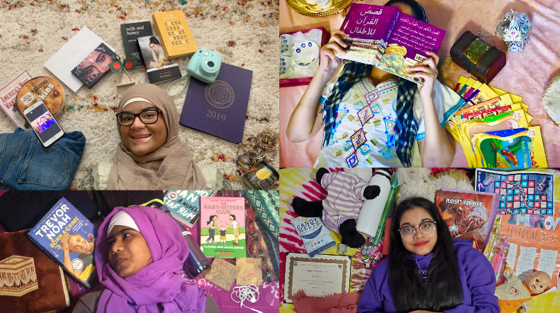 Teenage girls in portrait, surrounded by objects that mean something to their identities