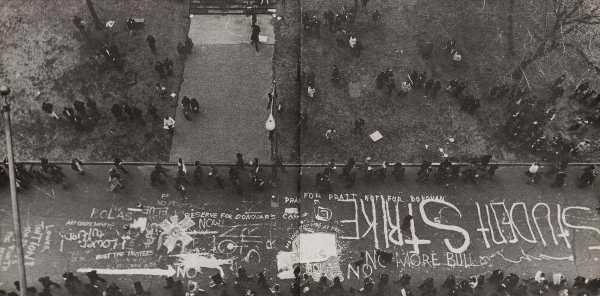 Overhead view of a line of striking students on Pratt's campus