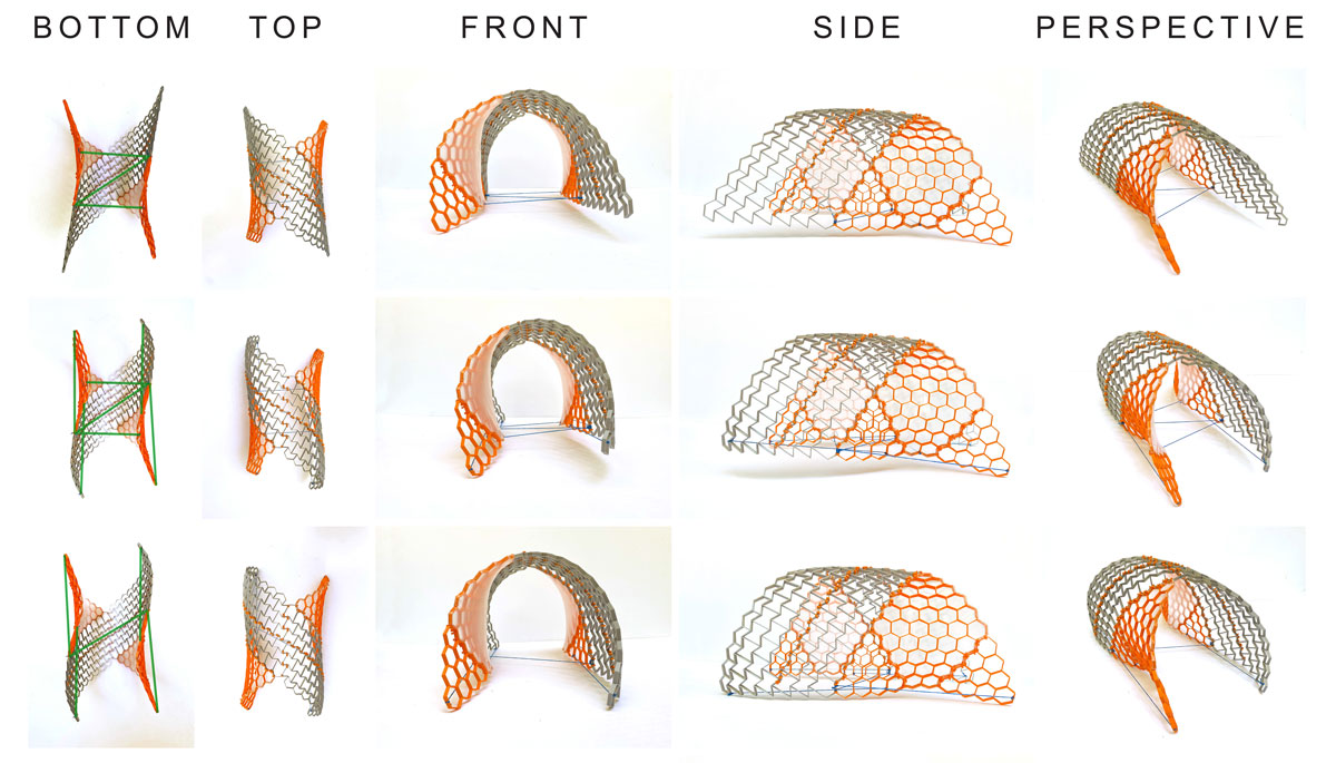 multiple renderings of structure in arch from bottom, top, front, side, and perspective view