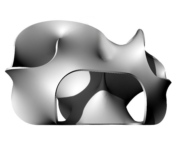 Digital rendering of Hypersurface, elevation view of a structure with multiple curves and no clear indication of joints or where certain pieces meet.