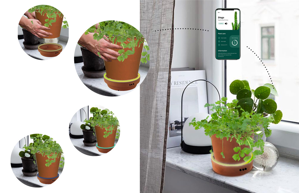 examples of the different features of the app, including the on/off function and colorways to show current plant health