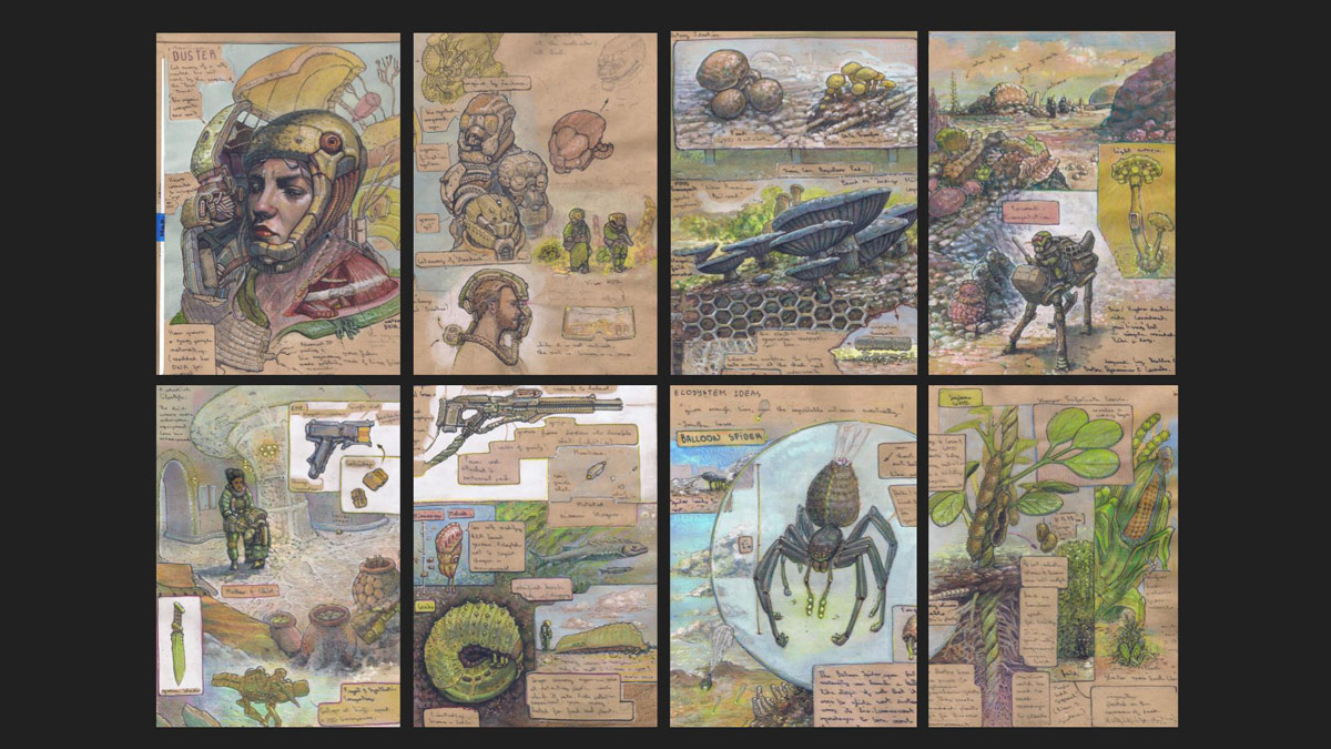 An eight panel illustration showing insects, people, inventions, mushrooms and many other things related to science and nature.