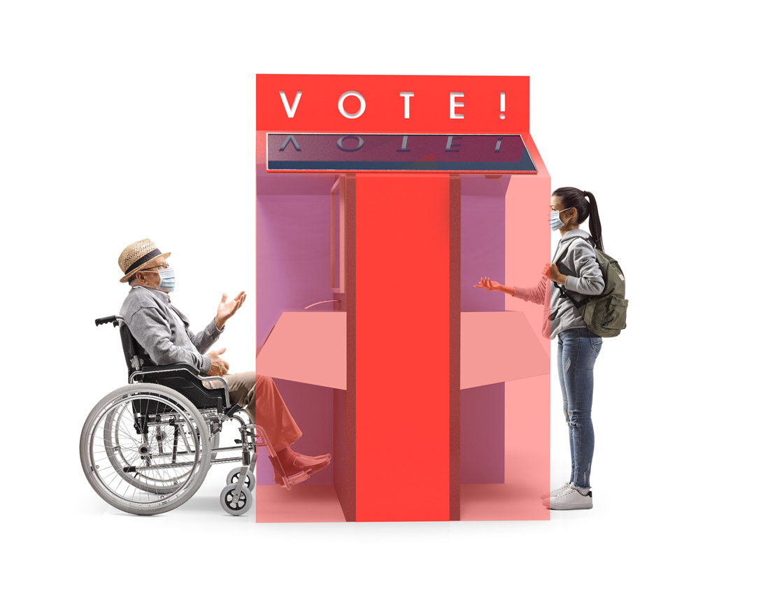 Mock-up of outdoor ballot box being used by voters wearing masks