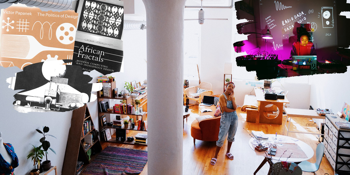 Collage of Ari Melenciano's studio showing brightly lit loft, books that inspire the artist, the artist at work behind laptop