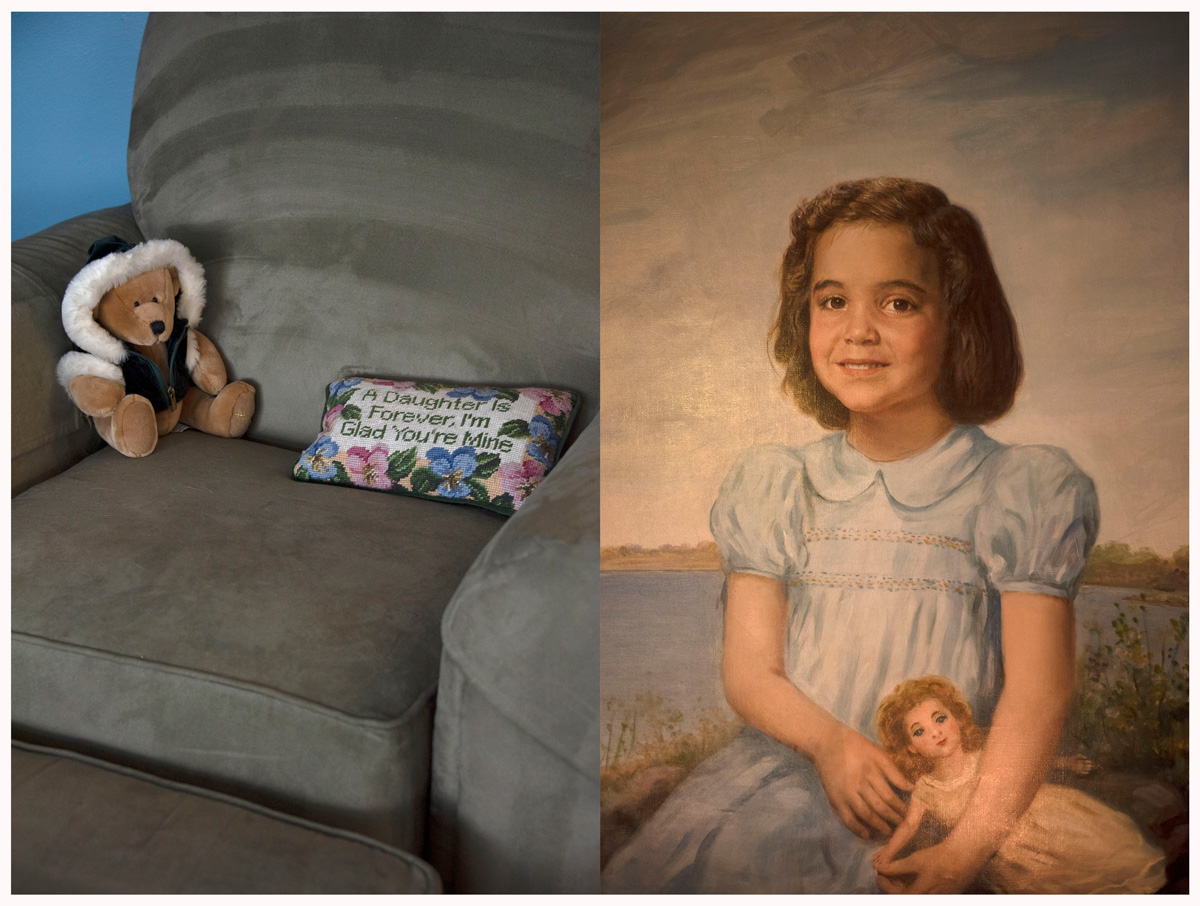 Diptych of taupe velvet chair with teddy bear and throw pillow and painting of girl with doll beside a lake
