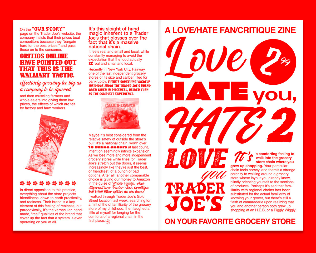 Red type and red stylized photos on a white magazine spread. The text is telling the Trader Joe's brand story.