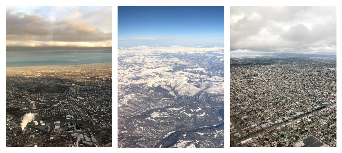Three landscapes seen from airplane: industrial development by water, snow-capped mountain expanse, and densely populated sprawl