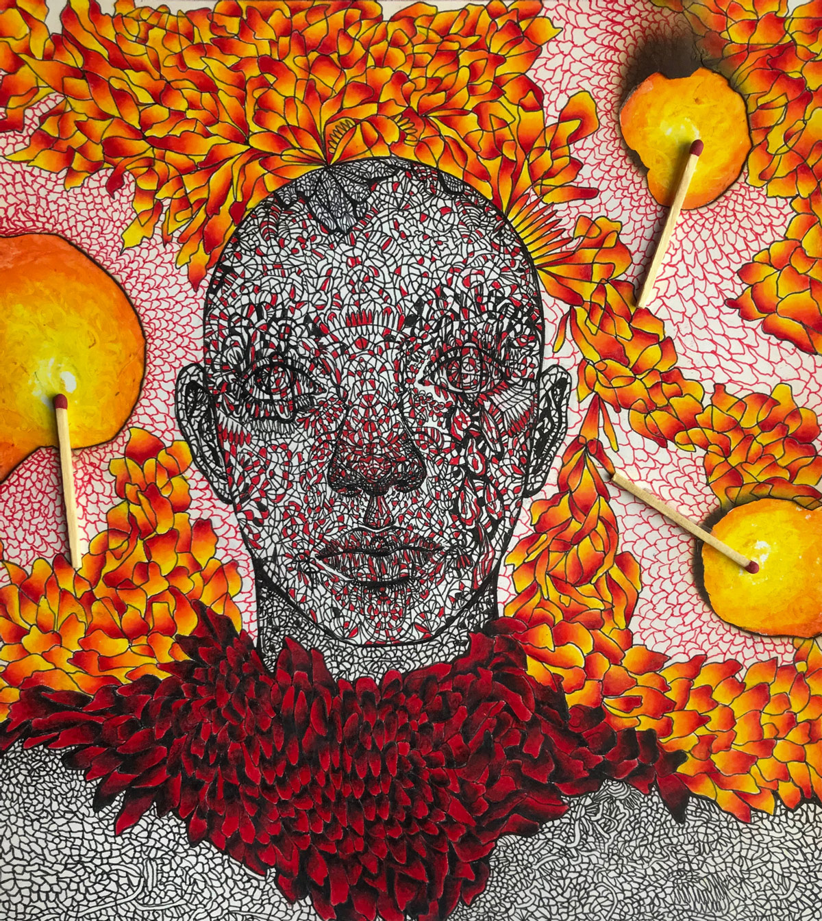 Ink portrait drawn in yellow, red, and orange with matches laid on top