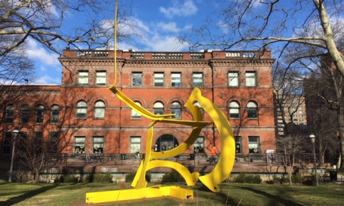 "Renowned Artist Mark di Suvero Oversees Installation of ""Paintbrush"" Sculpture on Campus"