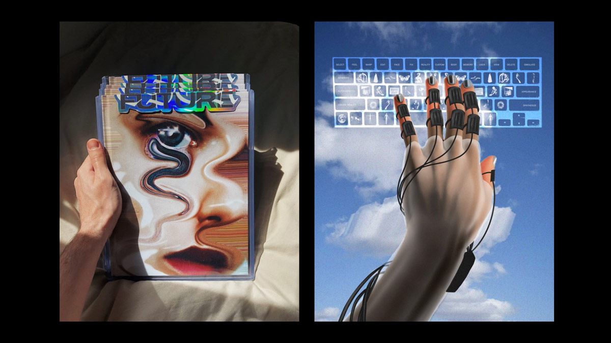 A two-panel image. The left panel is a photograph of a hand holding multiple copies of the same book. the book has the title Future and shows a distorted image of a face on it. The right panel is an illustration of a hand wearing sensors and wires typing on a translucent keyboard with unfamiliar characters on the keys. There is a blue sky with clouds as the backrground.